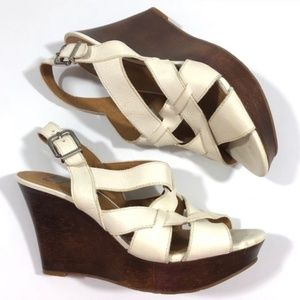 Gianni Bini Cream Strappy Wood Heel Wedges